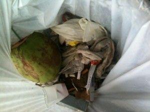 Luva, ataduras e outros materiais hospitalares usados jogadas no lixo comum