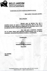 PMBJ alega falta de prestação e CEAPES comprova envio periódico de contas