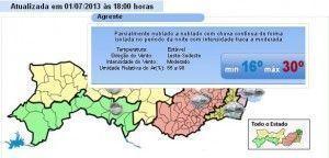 Agreste terá três dias de chuvas segundo previsão
