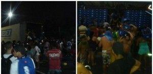 Vandalos saqueiam caminhão dos correios e carreta de cervejaria em Abreu e Lima