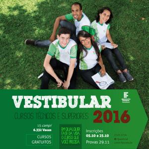 IFPE oferece 6.332 vagas no Vestibular 2016