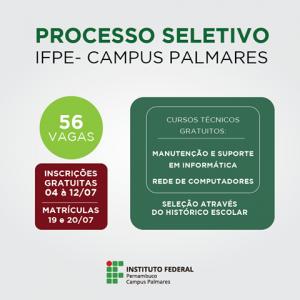 IFPE Campus-Palmares abre seleção para cursos de informática