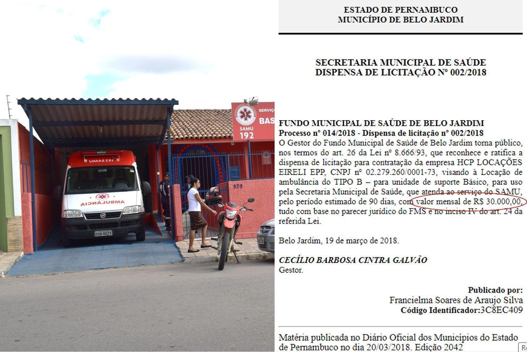 Após 8 meses, Prefeitura de BJ reativa Samu com ambulância alugada por R$ 90 mil