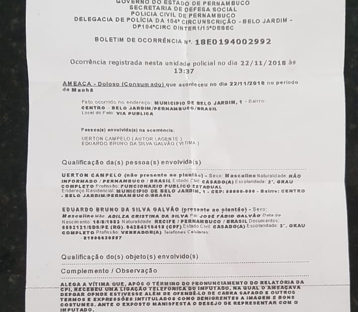 Vereador de BJ sofre ameaça devido CPI que investiga prefeitura e presta queixa na polícia