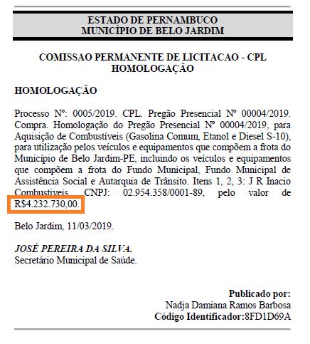 Reprodução/Diário Oficial dos Municípios