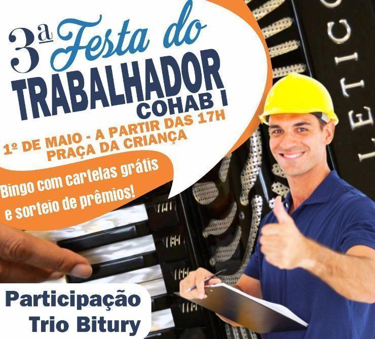 3ª Festa do Trabalhador da Cohab 1 acontece nesta quarta-feira (1º de maio)