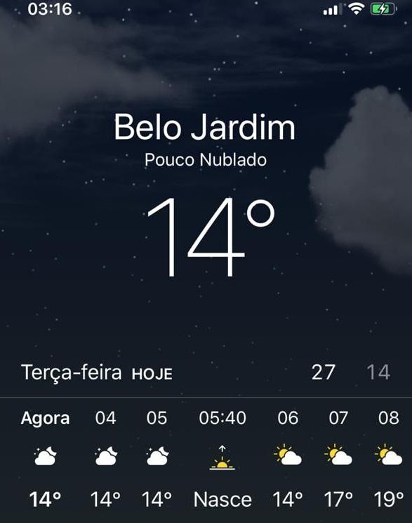 Belo Jardim registra temperatura de 14° C, a menor do ano no município