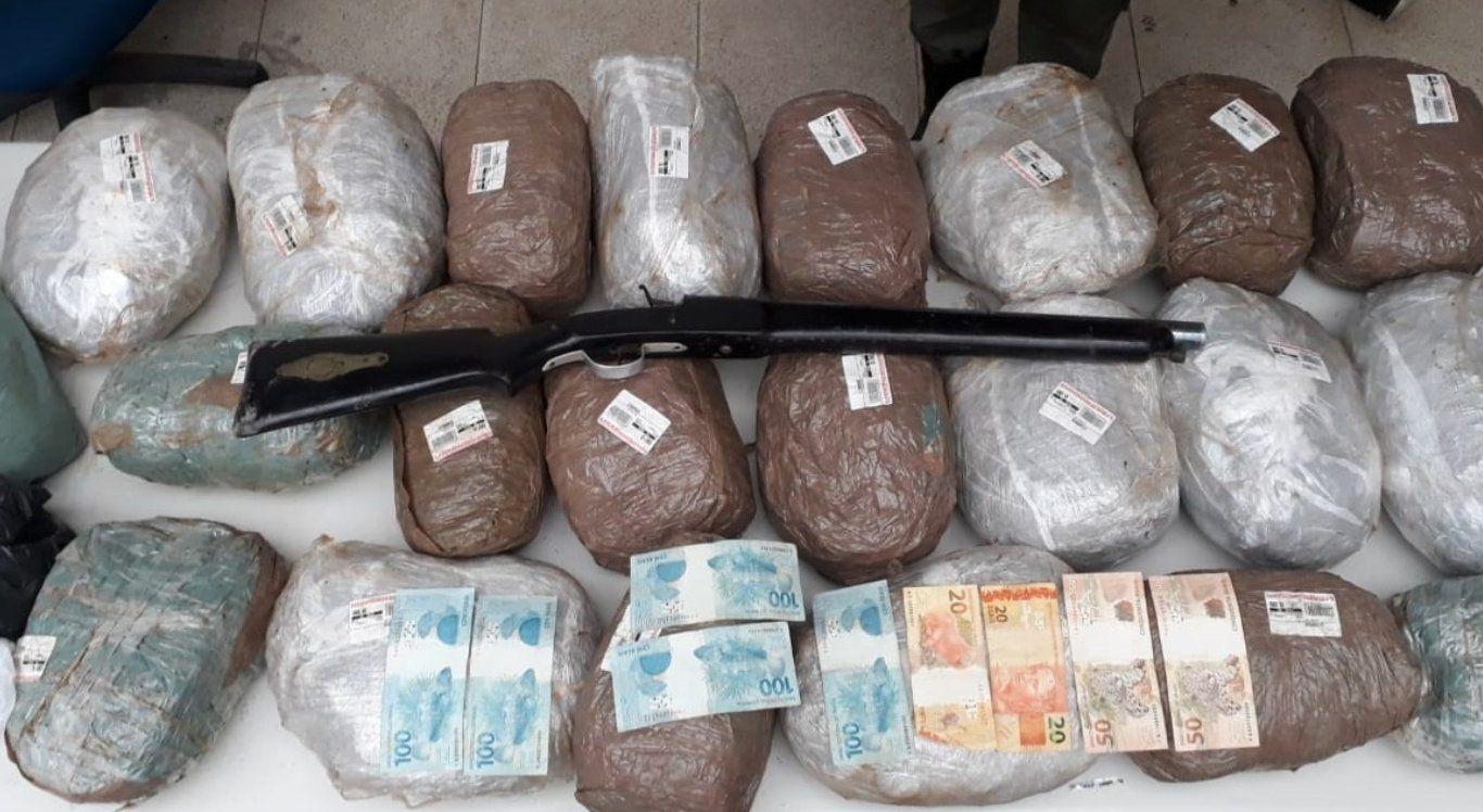 Polícia apreende 22 kg de maconha e arma de fogo na zona rural de BJ