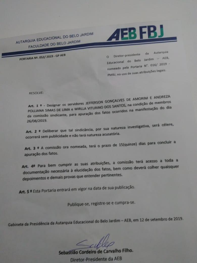Faculdade do Belo Jardim investiga servidores que participaram de protesto contra atraso de salários