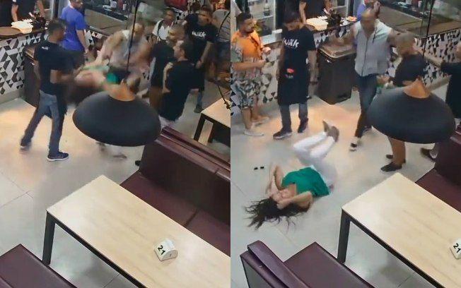 Mulher é derrubada duas vezes e leva soco após discussão em bar; veja vídeo