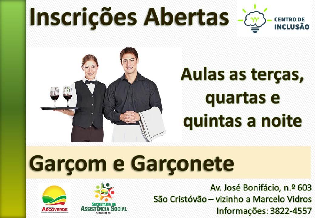 Centro de Inclusão de Arcoverde abre inscrições para o curso de garçom e garçonete