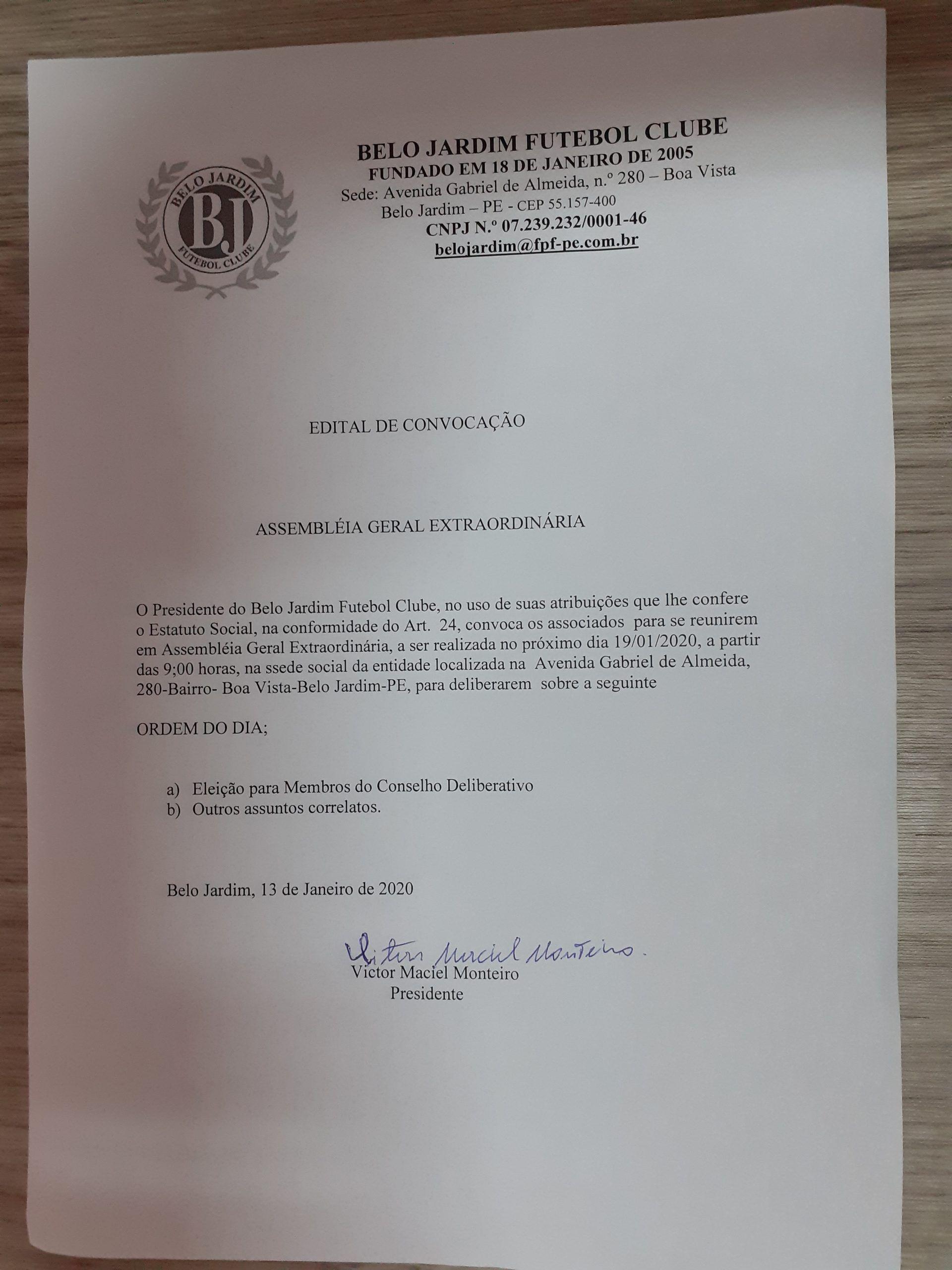 Belo Jardim Futebol Clube convoca para nova Assembléia Extraordinária