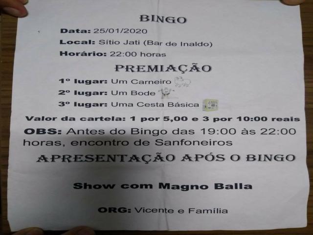Marido realiza bingo para realização de exame de esposa