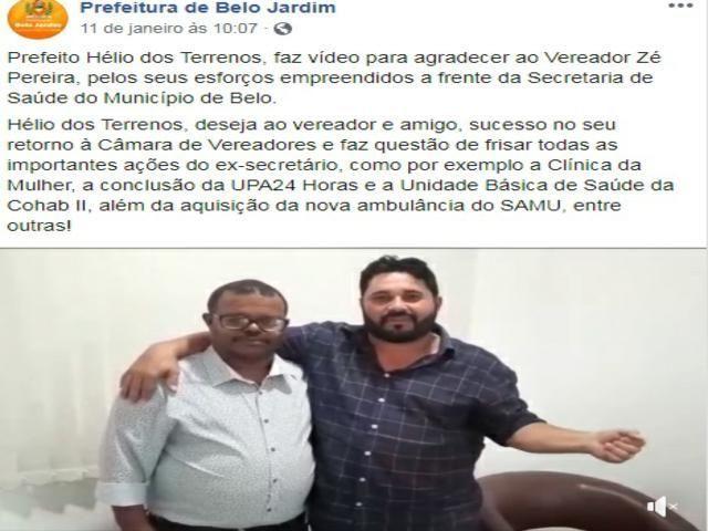 Em meio à denúncias de negligência e críticas, prefeito elogia gestão de Zé Pereira