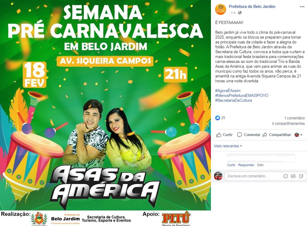 Prefeitura de Belo Jardim descumpre decisão da justiça e divulga festa