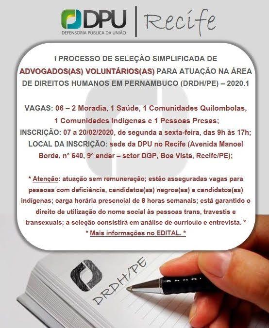 DPU abre seleção para advogados voluntários em Pernambuco