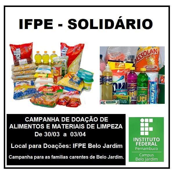 IFPE BJ realiza campanha para arrecadação de alimentos e produtos de limpeza