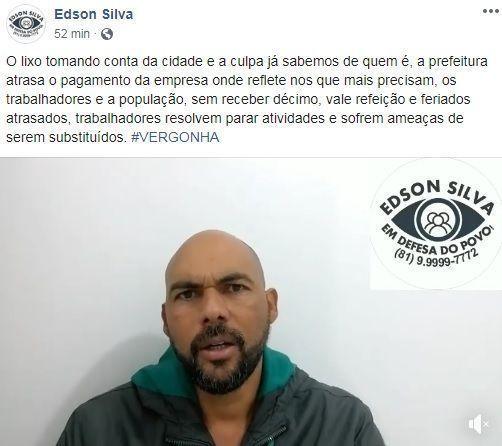 Edson Silva repudia prefeitura por não pagar empresa coletora de lixo