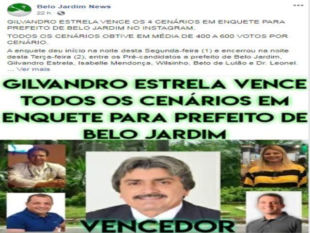Gilvandro Estrela vence os 4 cenários em enquete para prefeito