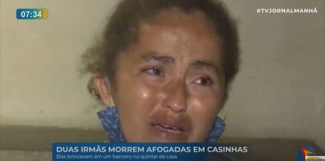 Mãe das irmãs que morreram afogadas. Foto: Reprodução/TV Jornal