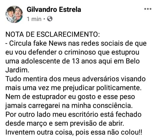 Gilvandro Estrela rebate Fake News sobre suposta defesa de estuprador