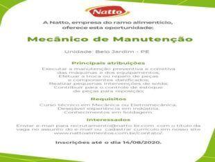 Natto disponibiliza outras vagas de emprego para Belo Jardim