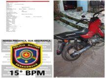 Policiais Militares do 15° Batalhão recuperam moto tomada de assalto em Belo Jardim