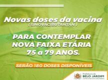 Belo Jardim avança de fase e vacinação contra a Covid-19 chega para idosos entre 75 e 79 anos