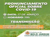 Live: Prefeitura de Belo Jardim fala sobre medidas de combate à Covid-19 nesta quarta (17)