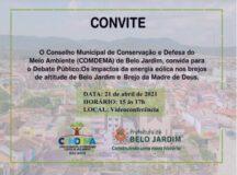 Condema realiza encontro virtual para debater sobre Energia Eólica em Belo Jardim e em Brejo da Madre de Deus