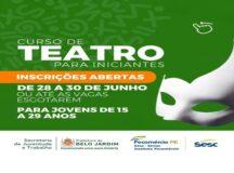 Secretaria de Juventude e Trabalho oferece curso de iniciação ao Teatro