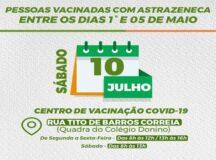 Belo Jardim convoca pessoas vacinadas entre 1º e 05 de maio para receber segunda dose da AstraZeneca, neste sábado (10)