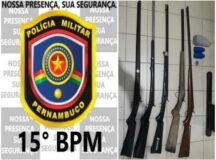 Polícia apreende 5 espingardas deixadas por caçadores na zona rural de Tacaimbó