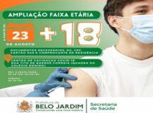 Jovens a partir dos 18 anos podem tomar vacina contra Covid-19 em Belo Jardim