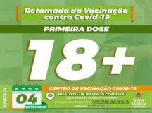 Belo Jardim volta a aplicar primeira dose da vacina contra Covid-19 nas pessoas a partir dos 18 anos