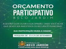 Prefeitura de Belo Jardim lança formulário online para cidadão opinar no Orçamento Participativo