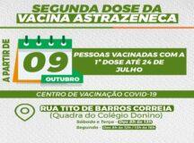 Pessoas vacinadas com primeira dose da Astrazeneca até 24 de julho são convocadas para segunda dose