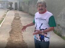 Em vídeo, Gilvandro Estrela denuncia calçada danificada por obras da Compesa em Belo Jardim